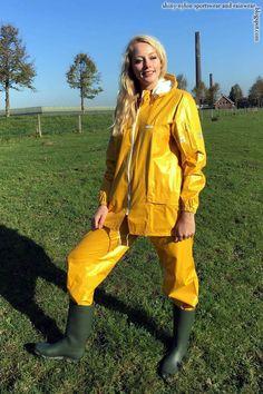Vinyl Raincoat, Pvc Raincoat, Yellow Coat, Yellow Raincoat, Raincoats For Women, Jackets For Women, Rubber Raincoats, Country Wear, Rain Suit
