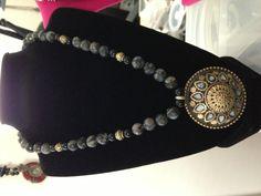 Tibetan pendant, labradorite, onyx...$150.