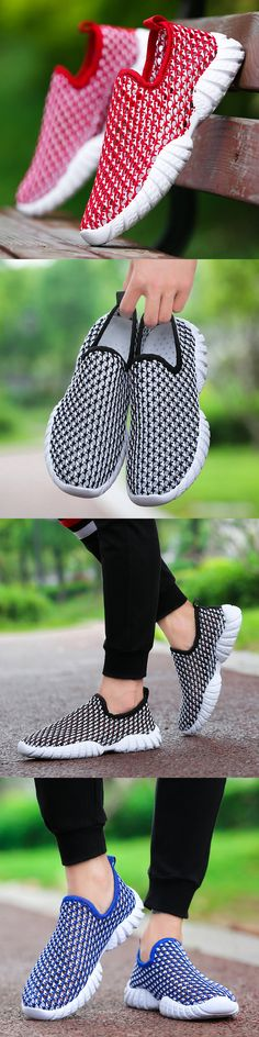 super popular f58be 4cb40 Men Mesh Hole Breathable Light Sneakers Slip On Casual Shoes