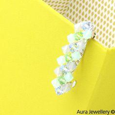 Green Blue Handcrafted Pastel Swarovski Crystal Hair Barrette Slide