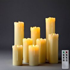 Set of 8 Assorted Ivory Wax Drip Slim Flameless Candles with Remote - Batteries Included LampLust http://www.amazon.com/dp/B00R4YFNEI/ref=cm_sw_r_pi_dp_DD5-ub10XG4NY