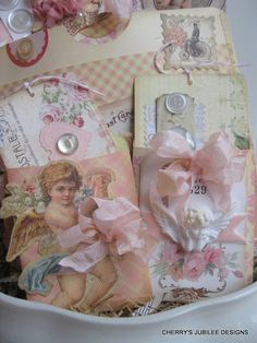 shabby chic SPRING LOVE stitched pocket full of tags and envelopes gift decoration treat bag