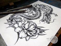 Japan dragon with peonies. by AsikaArt.deviantart.com on @DeviantArt
