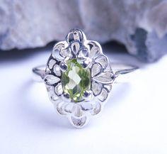 Peridot ring sterling silver ring gemstone ring by JubileJewel