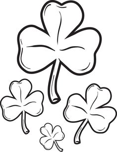 great coloring page for st patricks day of four shamrocks its free and printable