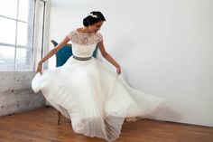 """Bateau Neckline, French Lace with Cap Sleeve, Pleated Tulle Wedding Gown, Bustier, The """"Julie-Kate"""""""