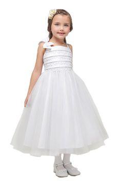 White Lace Bodice Flower Girl Dress - JD1196