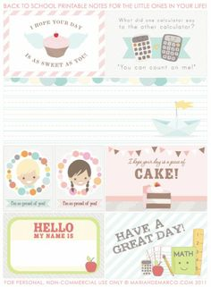 A collection of gorgeous Lunch box note printables - back to school