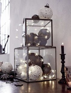 You can create a plethora of decorative items using general glass items lying in. You can create a plethora of decorative items using general glass items lying in your house. Check out our Christmas glass decoration ideas below. Glass Christmas Decorations, Modern Christmas Decor, Black Christmas, All Things Christmas, Christmas Home, Christmas Lights, Christmas Holidays, Christmas Crafts, Christmas Ornaments