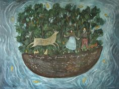 """We Brought the Forest with us,"" acrylic on canvas. Art prints available from Fine Art America, artist Katherine Lewis www.mosswoodpress.com"