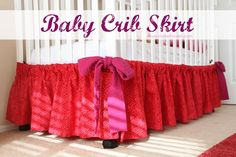 This is a neat idea and super simple. The crib skirt goes on the outside perimeter bottom of the crib or toddler bed. It's simply gathered on lengths of fabric which end with bows. No elastic. Velcro helps hold it onto the crib. IMG_4339-1