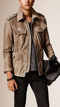 A Burberry field jacket constructed from supple nubuck with multiple patch pockets. Discover the men's outerwear collection at Burberry.com