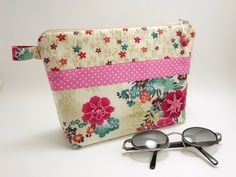 Asami flower japanese inspired fabric makeup bag / Zipper storage / Teal and pink flowers on cream , pink pin dot cotton lining
