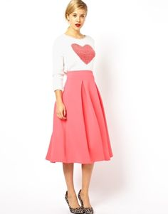 ASOS+Midi+Skirt+In+Scuba+With+Full+Pleats