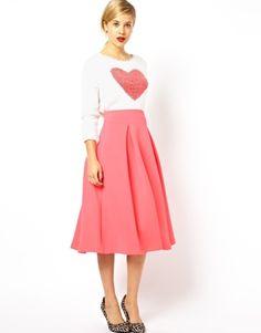 ASOS+Midi+Skirt+In+Scuba+With+Full+Pleats