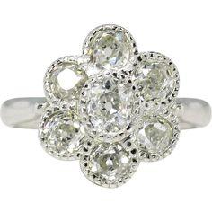 Vintage 1.33ct t.w. Old Mine Cut Diamond Floral Milgrain Bezel Platinum Ring
