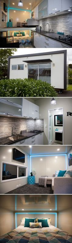 This gorgeous custom tiny home was built by Absolute Tiny Houses NZ. The New Zealand tiny home builder used modern finishes including high gloss thermal wrapped cabinets, LED lighting, a granite sink, and gray stone backsplash.