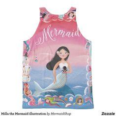Milla the Mermaid illustration All-Over Print Tank Top