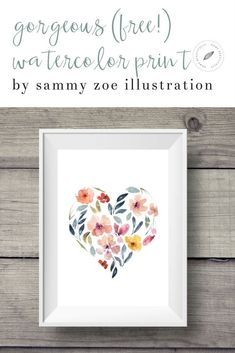 Download this Gorgeous Free Watercolor Print from Sammy Zoe Illustration! This affordable art print is easy, fun home decor. Printable DIY project! Great for homes, wall art, apartments, living rooms, bedrooms, and more!