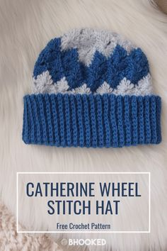 This hat is unlike any crochet hat you've ever seen! Free pattern and video tutorial for how to crochet the Catherine wheel stitch in the round. #BHooked #Crochet #FreeCrochetPattern