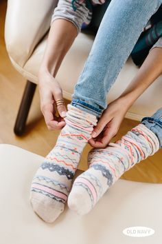 Your favorite sweater — now in sock form. These are the perfectly patterned pair for lounging around the house during these chilly winter months.