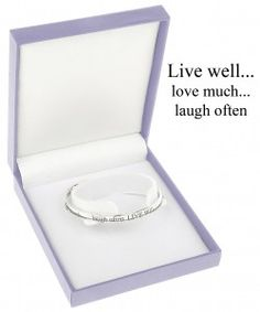 """Live well…Love much…Laugh often"" quote bangle by Equilibrium"
