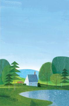 style children book illustration is so beautiful House Illustration, Children's Book Illustration, Simple Illustration, Book Illustrations, Illustration Children, Haus Am See, Mail Art, Book Art, Concept Art