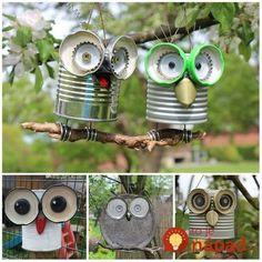 Tin can crafts Owl crafts Garden crafts Crafts Recycled crafts Kids Crafts, Tin Can Crafts, Owl Crafts, Diy And Crafts, Arts And Crafts, Paper Crafts, Crafts With Tin Cans, Yard Art Crafts, Craft Art