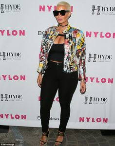 3b227d7d10c5 Amber Rose rocks crop top and skinny pants to Nylon magazine event