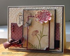 Field Flowers with Love Card    Stamps: Nature Walk, Field Flowers  Inks: Cherry Cobbler, Early Espresso, Old Olive  Papers: Very Vanilla, Early Espresso, Cherry Cobbler, Botanical Gazette DP  Accessories: Big Shot, Vintage Wallpaper EF, Watercolor Brush, Early Espresso Satin Ribbon, Cherry Cobbler Brads, Distressing Tool, Scallop Trim Border Punch, Round Tab Punch, Scissors, Sponge, Dimensionals, Paper Piercing Tool