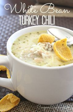 White Bean Chili with Turkey | A fantastic soup to make if you're looking for something with lots of flavor that can be spiced up, or spiced down and can be made on a tight budget.