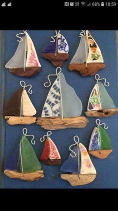 Sea glass China Driftwood Sailboat Necklace by tisha – Glass Art Designs Sea Glass Crafts, Sea Glass Art, Seashell Crafts, Beach Crafts, Sea Glass Jewelry, Glass Necklace, Broken Glass Crafts, Necklace Ideas, Glass Beads