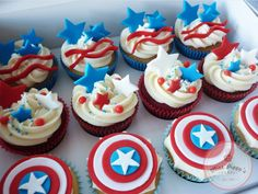 captain america cupcake ideas   4th of July Celebrations