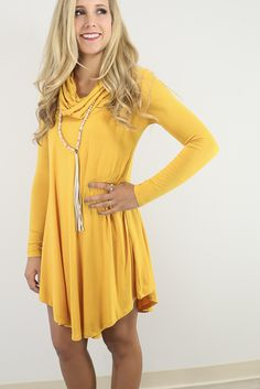 a95d8a1e55679 Crown Heights Mustard Cowl Neck Long Sleeve Curved Hem Dress