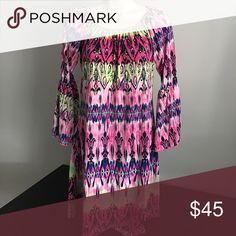 Boutique multicolored Summer dress Multicolor tonic boutique dress for fall or summer Dresses Midi