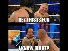 Brock Lesnar and The Undertaker funny moment at WWE SummerSlam 2015 . Wwe Funny, Funny New, Funny Stuff, Funny 2017, Stupid Funny, Funny Things, Funny Relatable Memes, Funny Quotes, Wwe Quotes