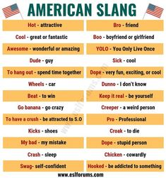 American Slang: List of 25 Essential American Slang You Shouldn't Miss! – ESL Fo… American Slang: List of 25 Essential American Slang You Shouldn't Miss! Teaching English Grammar, English Writing Skills, English Vocabulary Words, Learn English Words, English Language Learning, German Language, Japanese Language, Teaching Spanish, Spanish Language
