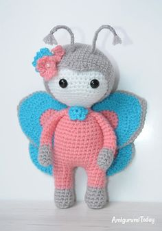 Crochet Dolls Amigurumi doll in butterfly costume - printable PDF - This beautiful Molly doll is an excellent gift for a girl. The doll crochet pattern includes the instructions for clothes and bag. Crochet Doll Pattern, Crochet Patterns Amigurumi, Amigurumi Doll, Crochet Dolls, Ladybug Costume, Butterfly Costume, Borboleta Crochet, Crochet Butterfly, Animal Costumes