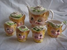 RARE Lefton Enesco vintage Miss Priss teapot set winking kitty cat sugar cream