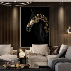 Black and Gold Horse Poster Creativity Animals Canvas Painting Light Luxury Room Decoration Print Wall Art for Living Room Living Room Pictures, Wall Art Pictures, Canvas Pictures, Horse Posters, Girl Posters, Wall Art Prints, Poster Prints, Luxury Rooms, Living Room Art
