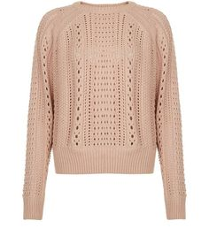 Pink Stitch Trim Long Sleeve Jumper  | New Look