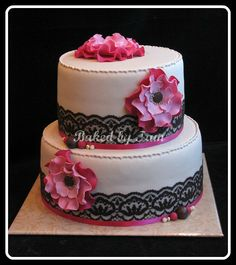 lacy cake with pink flowers