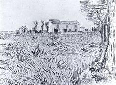 Farmhouse in a Wheat Field Vincent van Gogh Fecha: Arles, Bouches-du-Rhône, France Estilo: Posimpresionismo Género: dibujo y boceto Art Van, Van Gogh Art, Van Gogh Drawings, Van Gogh Paintings, Van Gogh Zeichnungen, Van Gogh Landscapes, Vincent Willem Van Gogh, Painted Vans, Van Gogh Museum