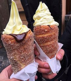Waffle cones are so The 'Donut Ice Cream Cone' has taken social media by storm, combining cinnamon coated doughnuts with chocolate sauce and ice cream. I Love Food, Good Food, Yummy Food, Boutique Patisserie, Donut Ice Cream, Delicious Desserts, Dessert Recipes, Dessert Food, Frozen Treats