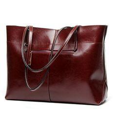 Covelin Womens Handbag Genuine Leather Tote Shoulder Bags Soft Hot Wine red * For more information, visit image link.