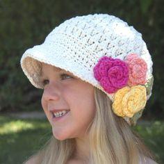 Sombrero | Vendedor de periódicos | Ganchillo de algodón | Sombrero de ala ancha | Flor | Gorros para niños | Los niños | Regreso a la escuela | Sombrero hipster | Sombreros populares | Envío gratuito