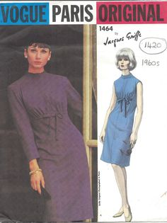 ITEM DESCRIPTION: ✦ Circa: 1960s ~ Description: TWO STYLE VARIATION ONE-PIECE DRESS by VOGUE - DESIGNER: JACQUES GRIFFE ✦ Size/Measurements(Inches): Size: 12 Bust: 32 Waist: 25 Hip: 34 ✦ Condition: Brand new reproduced copy. All pieces present and correct, with full garment instructions. ~ Please Note: You are buying a Professional Digitally Reproduced copy of this sewing pattern (copied from the original sewing pattern), produced in Full Scale Pattern Pieces ready to cut with full...