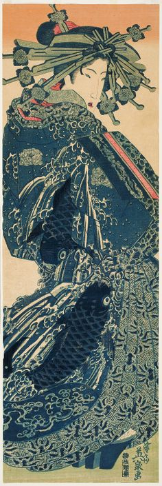Keisai Eisen (Japanese, 1790-1848), Courtesan in blue , ca. 1830, ôban vertical diptych nishiki-e (color woodblock print)  Portland Art Museum