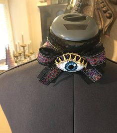 Items similar to Beaded eye black lace choker with large bow-Victorian, costume, gothic on Etsy Lauren Miller, Black Lace Choker, Victorian Costume, Collar And Cuff, Gothic Fashion, Captain Hat, Chokers, Bows, Costumes
