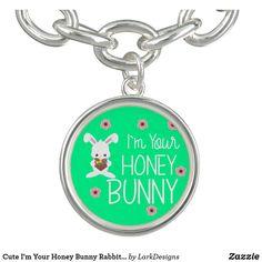 Cute I'm Your Honey Bunny Rabbit Flowers Charm Bracelet